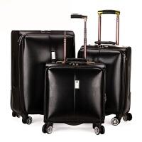 男士商务皮箱拉杆箱万向轮18寸女旅行登机箱20寸24寸行李箱密码箱 典雅黑 18寸