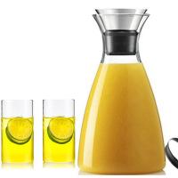 1.0L+2水杯丹麦风格耐热玻璃水具柠檬壶冷水壶简约果汁壶带盖水瓶咖啡壶