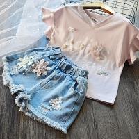 韩国童装女童纯棉荷叶边T恤+钉珠牛仔短裤两件套2018夏季儿童套装