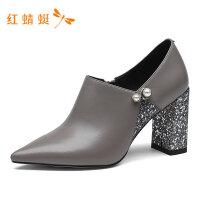 红蜻蜓女鞋春季新款中跟粗跟深口单鞋女时尚百搭圆头小皮鞋女单鞋-