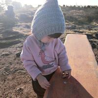 女童卫衣加绒加厚秋冬2017新款儿童女宝宝圆领卡通保暖上衣