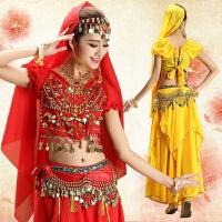 肚皮舞演出服裙子套�b ��服大�[裙 印度舞蹈服�b女�功服 �S色7件套 均�a