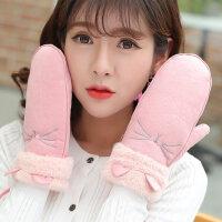 韩版学生卡通手套情侣挂脖骑行棉手套加绒加厚保暖可爱手套女