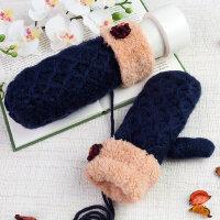 针织挂脖连指手套女冬天保暖加绒韩版可爱女学生手套毛线