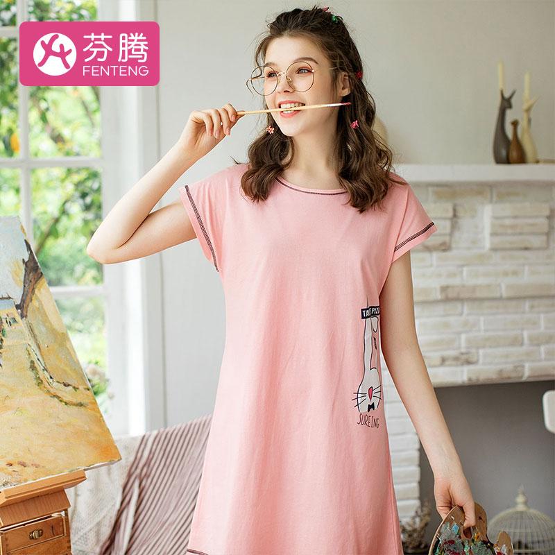 芬腾 睡衣女夏季新品棉质短裙可爱卡通女士家居服睡裙2147483647