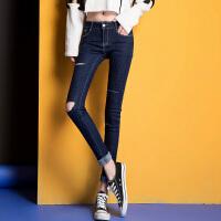 2017春季新款牛仔裤女士小脚铅笔裤子个性破洞学生显瘦弹力韩版潮