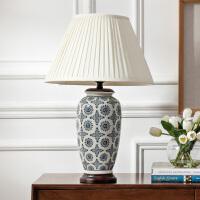 奇居良品 中式新古典客厅卧室装饰灯具 乔纳森白底青花陶瓷台灯