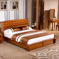 全实木床乌金木双人床1.5/1.8米现在中式高箱储物床婚床卧室具 1800mm*2000mm 框架结构