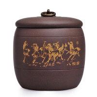 精品宜�d紫砂茶�~罐醒茶罐茶道配件八�E�R普洱茶罐