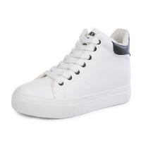 秋冬加绒保暖棉鞋 高帮松糕厚底平底内增高PU小白鞋运动鞋女