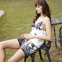 狄兰丝银泰百货女士真丝睡衣吊带性感桑蚕丝套装夏季丝绸D-2098