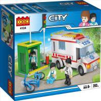 COGO积高新城市系列交通事故救援现场拼装积木儿童启蒙玩具4124