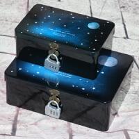带锁铁盒 长方形中号大号锁盒收纳盒子 半岛密码盒子桌面储物盒包