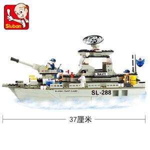 【当当自营】小鲁班海军舰队军事系列儿童益智拼装积木玩具 护卫舰M38-B0122