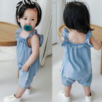 婴儿连体衣夏宝宝薄牛仔爬服01岁新生儿背带吊带3-6-9-12个月夏款