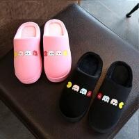 情侣室内家居鞋韩版可爱女士厚底棉拖鞋 新款儿童防滑软底居家保暖棉鞋