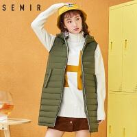 森马马甲女2017冬季新款显瘦潮流撞色棉衣背心女装中长款韩版潮流