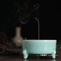 手工龙泉青瓷香炉檀香炉香道大号陶瓷佛具香拓适用三足双耳线香炉