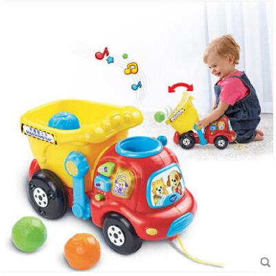 VTech伟易达奇趣翻斗车 玩具车宝宝拖拉玩具 儿童拉车手拉车 感应数数 中英双语 声光音乐