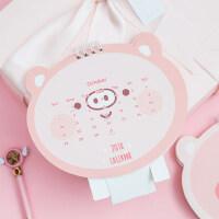 创意可爱小猪小台历 2018-2019年猪年 萌动物卡通造型计划日程本日历小礼物礼品