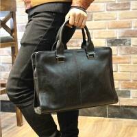 新款皮手提包男横款韩版单肩斜挎包商务包皮公文包电脑包男包