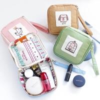 可爱化妆包小号便携少女心迷你随身旅行化妆品收纳袋手拿化妆包包 粉红色 皇冠小鸡