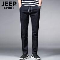 JEEP吉普黑色牛仔裤男 舒适松紧腰薄款微弹修身直筒男士牛仔长裤