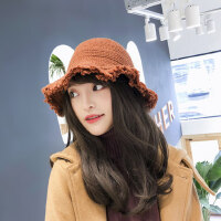 女士甜美可爱盆帽 时尚百搭毛线渔夫帽 韩版圆顶纯色针织帽 新款帽子女礼帽