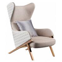 单人沙发椅轻奢后现代不锈钢真皮单椅客厅高背休闲椅北欧老虎椅子