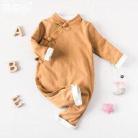 婴儿连体衣服宝宝新生儿冬季0岁3个月满月季春装长袖连体衣