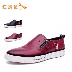 红蜻蜓年秋季新品男鞋舒适休闲套脚鞋真皮低帮单鞋