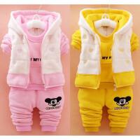 1-2岁女宝宝加绒0一周半冬装女孩4加厚小孩衣服到3岁儿童三件套装