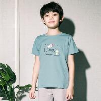 彩桥 儿童T恤纯棉儿童条纹打底衫中大童短袖背心家居服 男童t恤