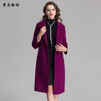 帝尼格瑞冬季新款女士翻领拼接中长款双面羊毛呢大衣外套女装C16039-1