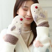 手套女冬保暖秋冬季时尚韩版学生可爱加绒加厚女士手套骑行骑车手套