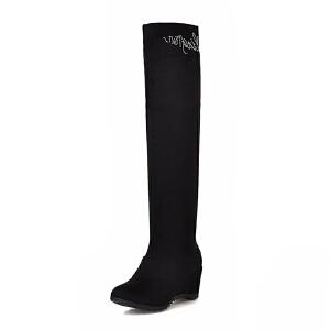 ELEISE美国艾蕾莎新品秋冬150-15-30韩版磨砂绒面坡跟女士女靴长筒靴