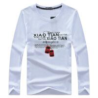 新款男装字母项链男式长袖T恤大码男士韩版印花t恤