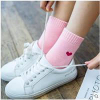 日系冬季加厚保暖女长袜子 素色纯棉韩国刺绣爱心全毛圈女中筒袜