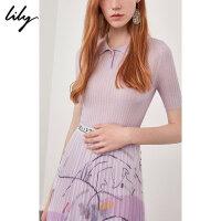 【特惠秒杀价149元】全场叠加100元券 Lily春新款女装黄色紫色POLO领收腰短袖针织衫118300B8736