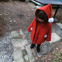 宝宝新年装橘红大衣羊毛呢大衣背心裙套装夹棉加厚大衣长款女童