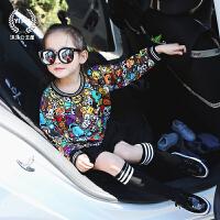女童打底衫春秋2018新款童装 韩版满印卡通小猴子宽松休闲儿童t恤