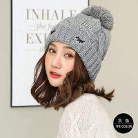 毛线帽子女加绒保暖韩版针织包头帽护耳休闲青年学生保暖帽