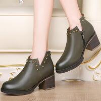 莫蕾蔻蕾粗跟女鞋百搭单鞋韩版铆钉深口黑色防水台高跟鞋70051