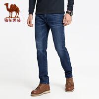 骆驼男装 秋冬新款青年微弹直筒猫须水洗牛仔裤男士休闲长裤