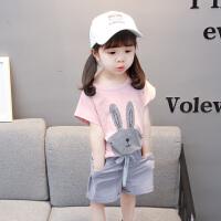 女童套装夏装时髦儿童短袖短裤两件套夏天小孩宝宝衣服薄