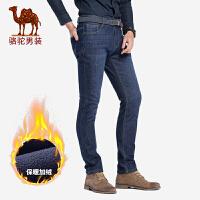 骆驼男装 秋冬新款加绒加厚牛仔裤男士中腰直筒商务保暖长裤