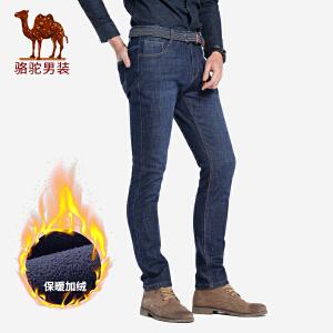 骆驼男装 2018秋冬新款加绒加厚牛仔裤男士中腰直筒商务保暖长裤