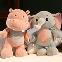 女孩毛绒玩具布娃娃萌软体可爱大象河马独角犀牛羽绒棉公仔玩偶
