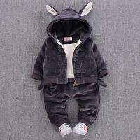 8个月男宝宝秋冬装套装纯棉0-1-3岁婴幼儿童马甲两件套加绒加厚潮