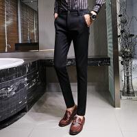 新款英伦男士纯色百搭休闲裤时尚修身小脚裤免烫弹力西裤长裤